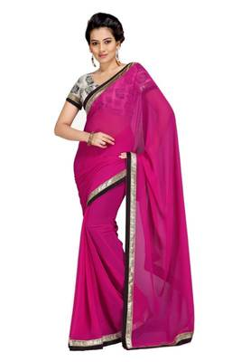 Gorgeous Elegant Georgette Designer Saree With Silk Blouse Piece D.No A7046