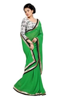 Gorgeous Elegant Georgette Designer Saree With Silk Blouse Piece D.No A7048
