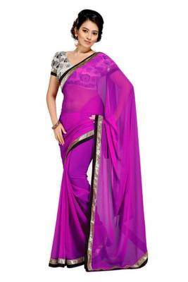 Gorgeous Elegant Georgette Designer Saree With Silk Blouse Piece D.No A7049