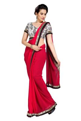 Gorgeous Elegant Georgette Designer Saree With Silk Blouse Piece D.No A7051