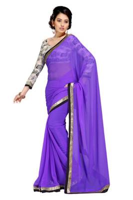 Gorgeous Elegant Georgette Designer Saree With Silk Blouse Piece D.No A7055