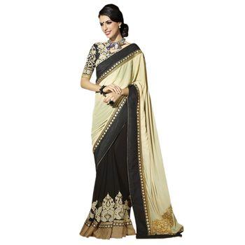 Hypnotex Georgette Black and Cream Color Designer Dress Material Starplus7207