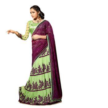 Hypnotex Rasal Net and Georgette Green Color Designer Dress Material Starplus7217