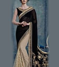 Buy Black and Beige embroidered georgette saree wtih blouse other-actress-saree online