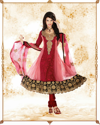 Unique Maroon & Rose Pink Salwar Kameez