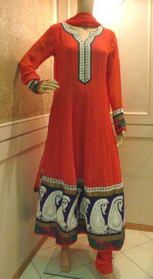 Bright Orange White Embroidered Anarkali