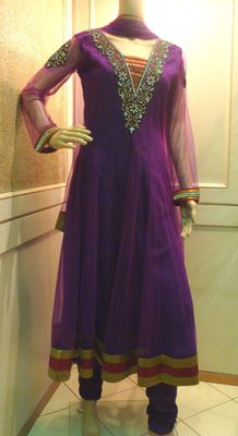 Purple Stone Work Anarkali