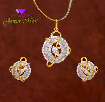 Silver Color Designer American Diamond Locket Set