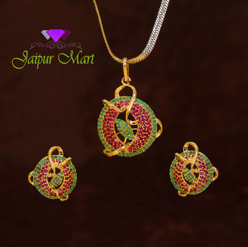 Red and Green Color Designer American Diamond Locket Set