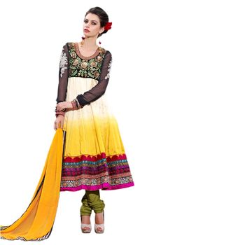 Hypnotex Bhagalpuri Cream and Yellow Color Designer Dress Material Azzam1107