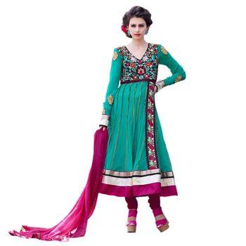 Hypnotex Net Green Color Designer Dress Material Azzam1114