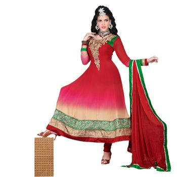 Hypnotex Georgette Red Color Designer Dress Material Krishna2001