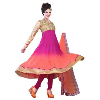 Hypnotex Georgette Pink and Brown Color Designer Dress Material Krishna2009