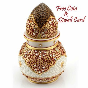 Marvel In Marble - Gold Embossed Kalash With Narial