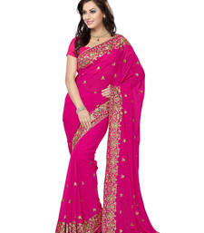Buy Rani Pink embroidered chiffon saree with blouse party-wear-saree online