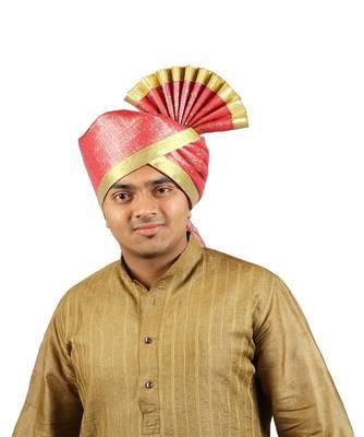 Ekolhapuri Maroon Jari Tikli With Broad Plain Golden Border Polyester Pheta (Turban)