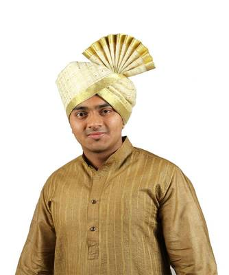Ekolhapuri Off White Jari Tikli With Broad Plain Golden Border Polyester Pheta (Turban)