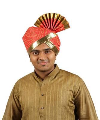 Ekolhapuri Red Bandhani Print With Broad Plain Golden Border Polyester Pheta (Turban)