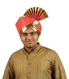 eKolhapuri Red Bandhani Print with Broad Plain Golden Border Polyester Pheta (Turban) men-festive-wear