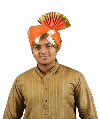 Ekolhapuri Orange Bandhani Print With Broad Plain Golden Border Polyester Pheta (Turban)