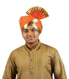 eKolhapuri Orange Bandhani Print with Broad Plain Golden Border Polyester Pheta (Turban)