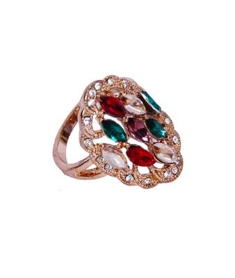 Gold Black Stone Studded Designer Ring