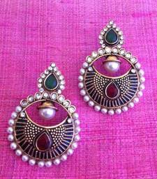 Buy Red Green pearl polki earring with wonderful black work v623 gifts-for-her online