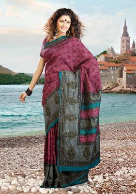 Vivacious Ash Gray & Magenta Embroidered Saree