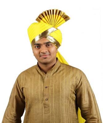 Ekolhapuri Yellow Jari Lining With Broad Plain Golden Border Polyester Pheta (Turban)