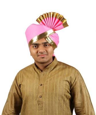 Ekolhapuri Solid Pink With Broad Plain Golden Border Polyester Pheta (Turban)