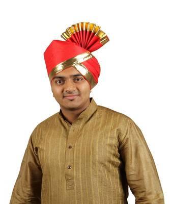 Ekolhapuri Solid Red With Broad Plain Golden Border Cotton Pheta (Turban)
