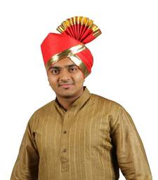 eKolhapuri Solid Red with Broad Plain Golden Border Polyester Pheta (Turban)
