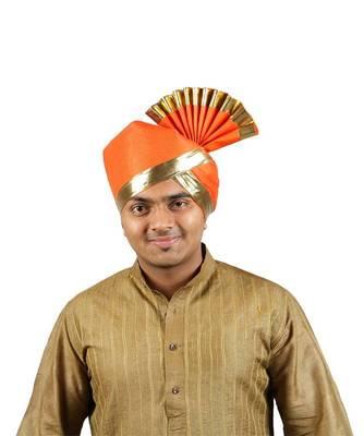 Ekolhapuri Solid Orange With Broad Plain Golden Border Cotton Pheta (Turban)