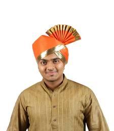 Buy eKolhapuri Solid Orange with Broad Plain Golden Border Polyester Pheta (Turban) turban online