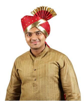 Ekolhapuri Maroon Bandhani Print With Broad Plain Golden Border Polyester Pheta (Turban)