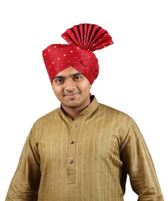 Ekolhapuri Maroon Bandhani Print Polyester Pheta (Turban)