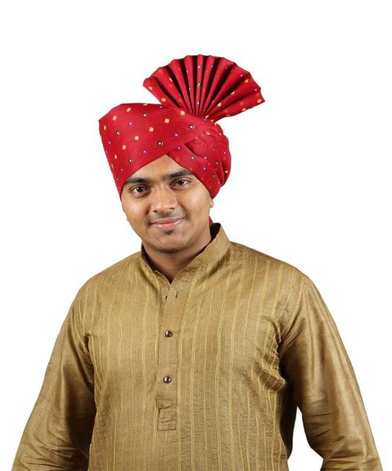 eKolhapuri Maroon Bandhani Print Polyester Pheta (Turban) - KALAPURI ... 20193a62688