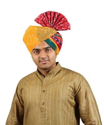 Ekolhapuri Panchrangi Jodhpuri Bandhej Cotton Pheta (Turban)
