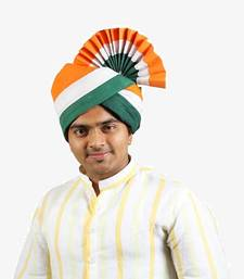Buy eKolhapuri Indian Tricolor Cotton Pheta (Turban) men-festive-wear online
