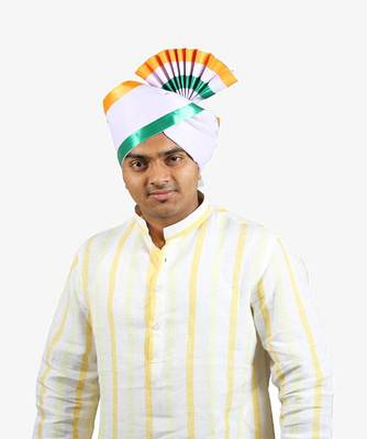 Ekolhapuri Indian Tricolor Lining Cotton Pheta (Turban)