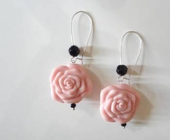 rose drop long earring light pink