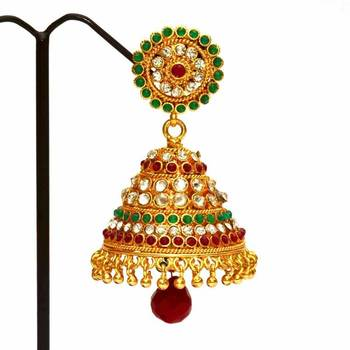 Anvi's rubies, emeralds and white stones jhumkas
