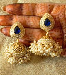 Buy Fabulous Gold Plated Blue Bandani Jhumka Earrings jhumka online