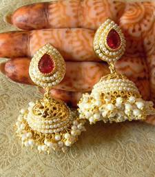 Buy Gorgeous Rani Pink Gold Plated Bandani Jhumka Earrings jhumka online