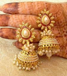 Buy Preety White Gold Plated Bandani Jhumka Earrings jhumka online