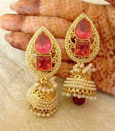 Buy Marvelous Rani Pink Gold Plated Bandani Jhumka Earrings jhumka online