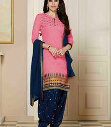 Buy Styles Closet Pink cotton embroidered semi_stitched salwar with dupatta pakistani-salwar-kameez online