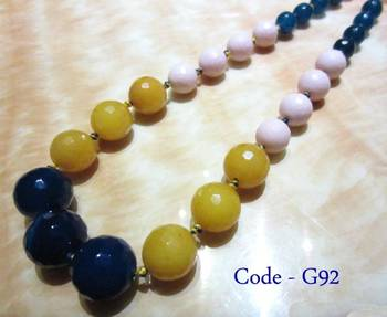 Multicolor Jade & Onyx Semi Precious Necklace
