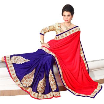 Hypnotex Velvet and Viscose Jacquard Maroon and Navy Blue Color Designer Saree Star113