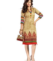Buy Vintage Pashmina Printed Beige coloured Casual Designer Stitched Kurtis kurtas-and-kurti online
